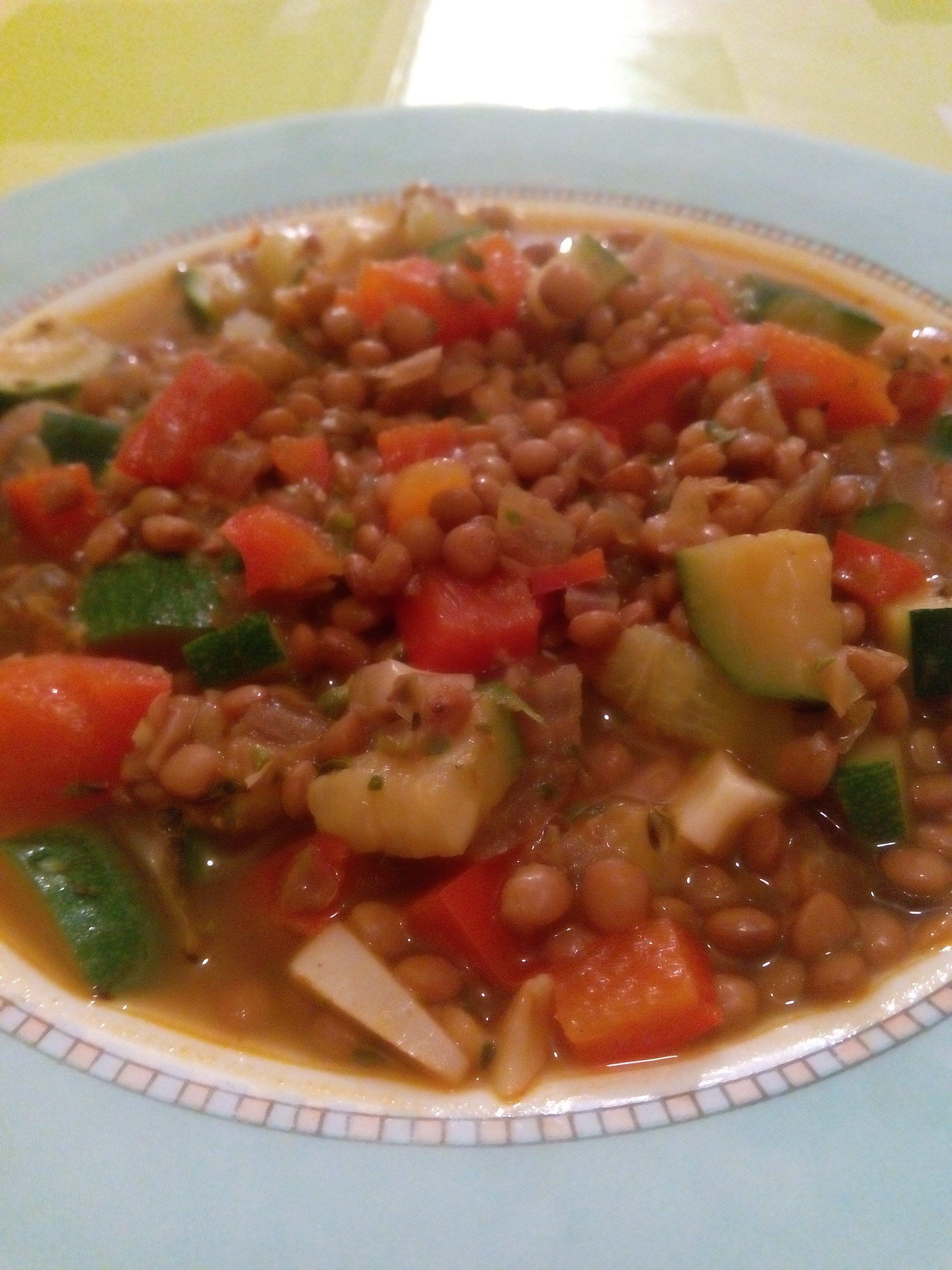Guiso de lentejas con verduras express