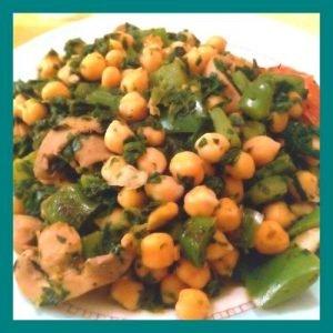 Salteado de garbanzos al curry con espinacas y champiñones ID